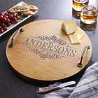 Personalized Decorative Family Name Wood Barrel Tray