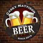 Personalized Powered by Beer Wooden Bar Sign