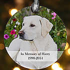 Personalized Pet Memorial Photo Christmas Ornament