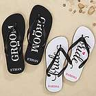 Just Married Personalized Adult Flip Flops