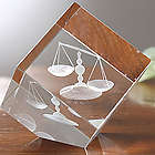 Scales of Justice 3-D Personalized Crystal Sculpture