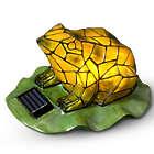 Mosaic Frog Solar Garden Statue