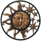 Handcrafted Aluminum Sun and Moon Face Wall Sculpture