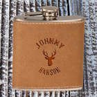 Deer Head Personalized Leather Flask