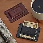 Personalized Leather Money Clip and Card Holder