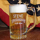 Personalized 13 Ounce Custom Wedding Party Glass Beer Mug