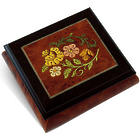 Radiant Floral Wood Inlay Music Box with Rosewood Border