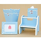 Frame, Waste Basket, Tissue Box and Step Stool Set with Anchor