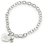 Girl's August Birthstone Angel Bracelet with Heart Shaped Box