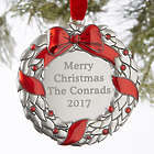 Personalized Silver Holiday Wreath Ornament
