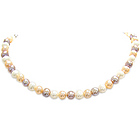 Multi Colored Pearl Necklace in Silver