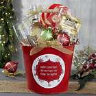 Personalized Red Gift Bucket with Christmas Snowflake Design