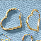 10K Gold Heart Hoop Earrings