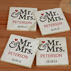 Personalized Mr. and Mrs. Marble Coasters