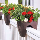 "Two 12"" Railing Planters in Mushroom"
