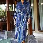 Midnight in Blue Women's Batik Robe