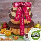 Organic 4 Box Fruit and Snack Gift Tower with Thank You Ribbon