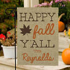 Personalized Happy Fall Y'all Burlap Flag