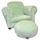 Suede Chair and Ottoman Set