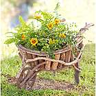Handcrafted Wooden Wheelbarrow Planter