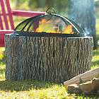 Faux Tree Stump Fire Pit and Accessories