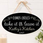 Sassy Kitchen Quotes Personalized Oval Wood Sign