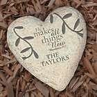 He Makes All Things New Bible Verse Engraved Heart Garden Stone