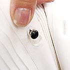 Silver Black Tuxedo Stud Set