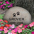 Personalized Medium River Rock Paw Print Pet Memorial Stone
