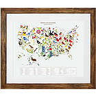 Birds and Blooms Art US States Framed Map