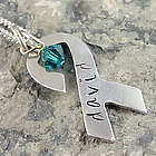 Awareness Ribbon Personalized Pendant on Necklace or Keychain