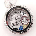 Personalized Marathon Floating Glass Pendant