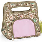 Pink and Brown Floral Personalized Lunch Tote