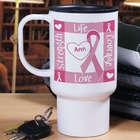Personalized Breast Cancer Awareness Travel Mug
