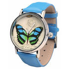 Butterfly Watch with Blue Leather Band