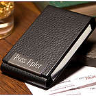 Personalized Black Leather Card Case