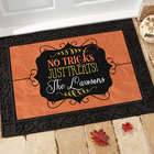 No Tricks, Just Treats Personalized Recycled Rubber-Back Doormat