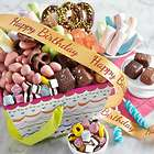 Delightful Sweets Gift Basket with Birthday Wishes Ribbon
