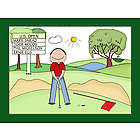 Personalized Putting Golfer Cartoon Matted Print