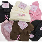 Pink Ribbon Knit Hat and Gloves Set