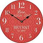 Live, Laugh, Love Personalized Red Wall Clock