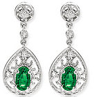 14k W Gold Filigree Oval Emerald Drop Diamond Earrings