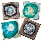 Stoneware and Crackled Glass Coasters