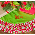 Personalized Red & Green Ikat Christmas Tree Skirt