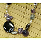 Amethyst and Pearl Necklace with Agate Pieces