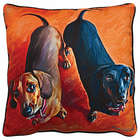 Dachshund Duo Portrait Pillow