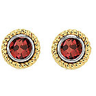 50's Style 1.25 CTW Garnet 14K Two-Tone Bezel Stud Earrings