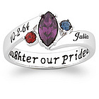 Our Daughter Our Pride Sterling Silver Birthstone & Name Ring