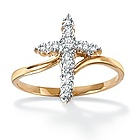 18k Gold Over Silver Diamond Accent Cross Women's Ring