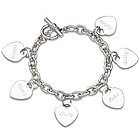 Engraved Hearts Name Charm Bracelet